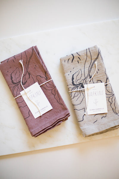 Iris Linen Napkins | Natural