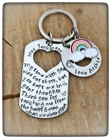 Personalised Rainbow Teacher Keyring