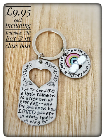 "Personalised ""Sending a Little Rainbow"" Keyring"