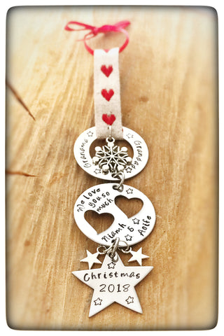 Christmas Hearts & Stars Tree Decoration