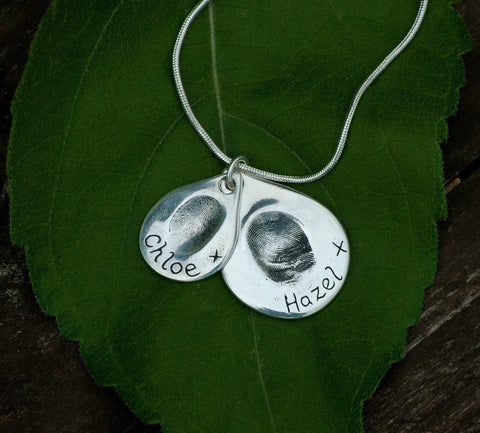 Double Descending Fingerprint Teardrop Pendant / Necklace (Large/Small)