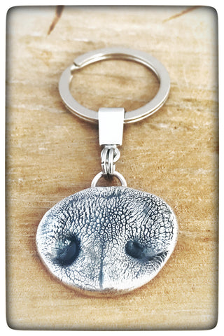Sterling Silver Dog Nose Keyring/Necklace