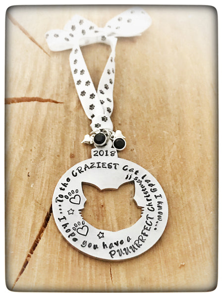 PERSONALISED CRAZY CAT LADY CHRISTMAS BAUBLE