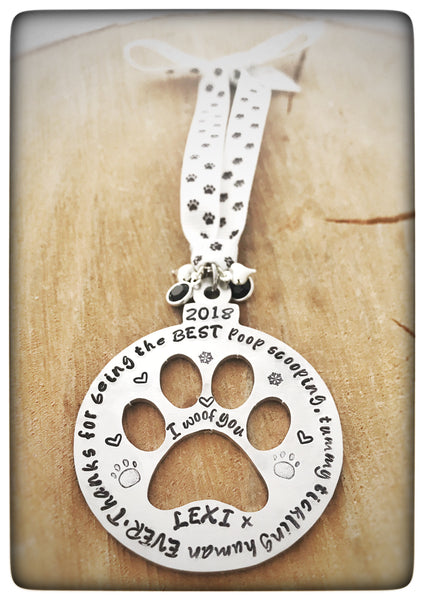 "PERSONALISED "" BEST POOPER SCOOPER"" CHRISTMAS TREE PAWBLE"