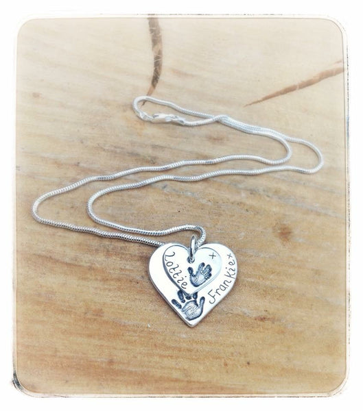 Double Descending Love Heart Pendant / Necklace (Large/Small)