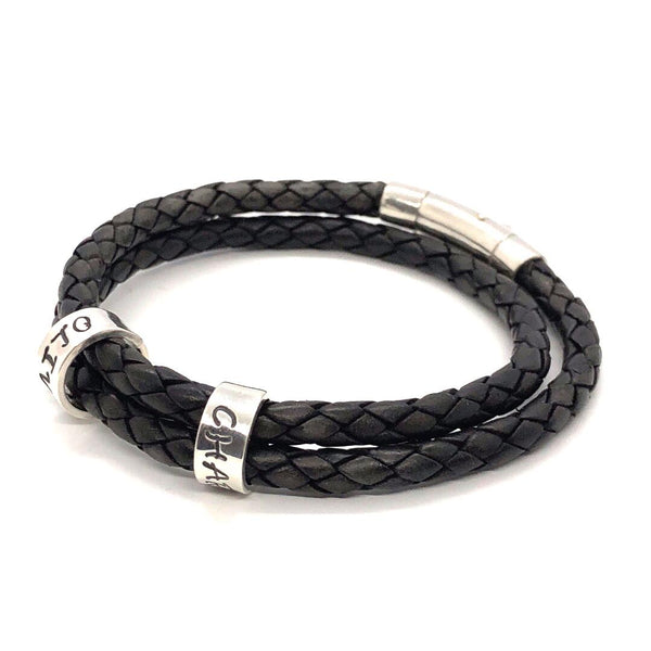 Personalised Men's / Women's Double Wrap Leather Bracelet with Silver Name Beads