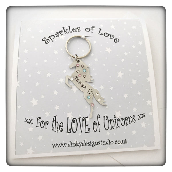 Personalised Unicorn Keyring