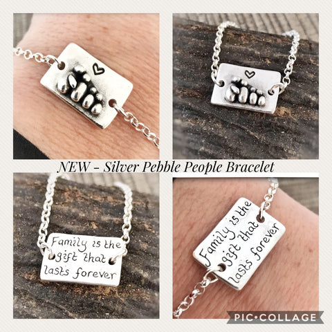 Family Silver Pebble People Bracelet