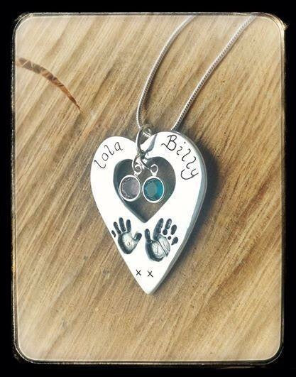 "Exclusive Dinky Design ""Hands on my Heart"" Hand/Foot/Paw Print Pendant/Necklace"