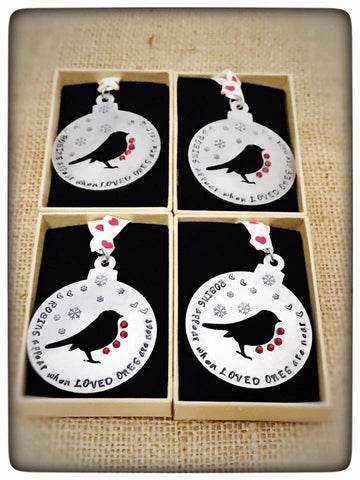"PERSONALISED "" When Robins appear ..."" Christmas baubles"