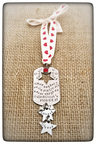 "Personalised "" What Happens at Grandma's..."" Christmas Decoration"