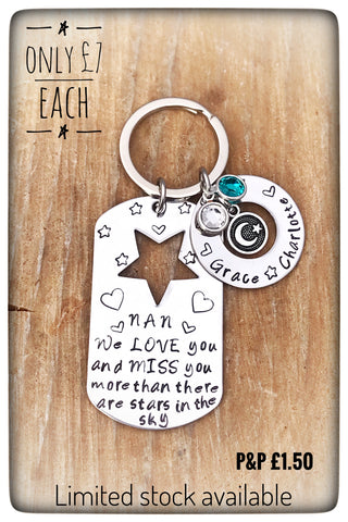 "Personalised ""More than stars"" Keyring with Gemstones"