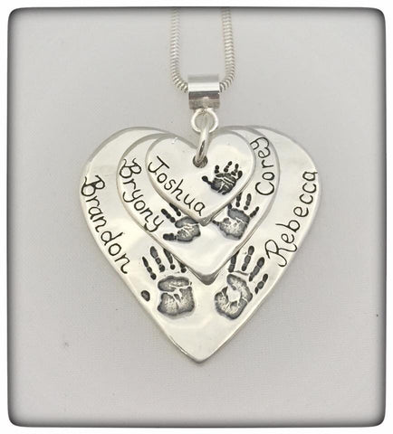 Triple Descending Love Heart Pendant / Necklace (Extra Large/Large/Small)