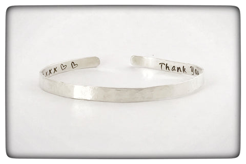 Dainty Personalised Textured Silver Cuff Bracelet
