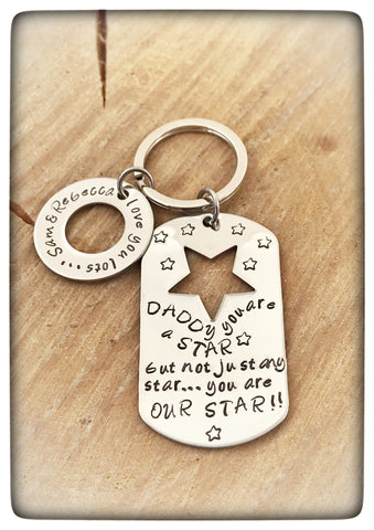 "Fathers Day "" You are a Star "" Personalised Keyring"