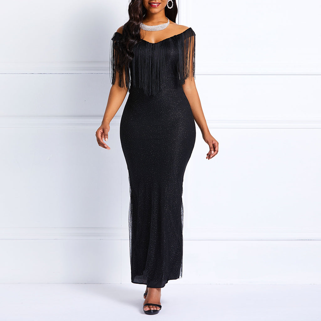 ae14002a42f Clocolor Sequins Dress Women Off Shoulder Tassel Elegant Bodycon Sexy  Ladies Boadycon Prom Evening Black Maxi