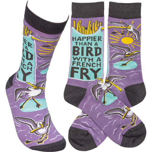 Happier Than A Bird With A French Fry Socks  (Unisex)