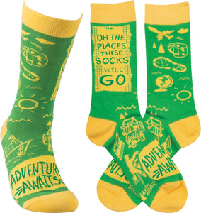 Oh The Places These Socks Will Go! Adventure Awaits! Socks (Unisex)