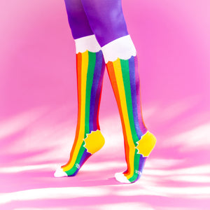 Rainbow Cloud Socks (Unisex) Knee High