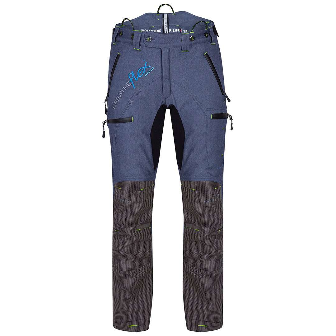 arbortec breathflex pro type a class 1 chainsaw trousers in denim colour - front