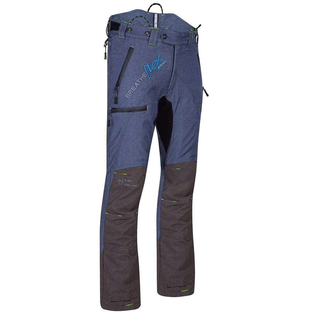 arbortec breathflex pro type a class 1 chainsaw trousers in denim colour - front angle