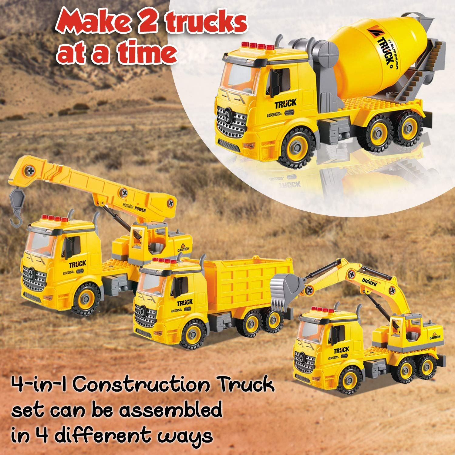 4-in-2 Take Apart Construction Truck Toy – Builds Dump Truck, Cement Mixer, Excavator & Crane – STEM Learning Toy & DIY Building Play Set for Kids Ages 6 In Up