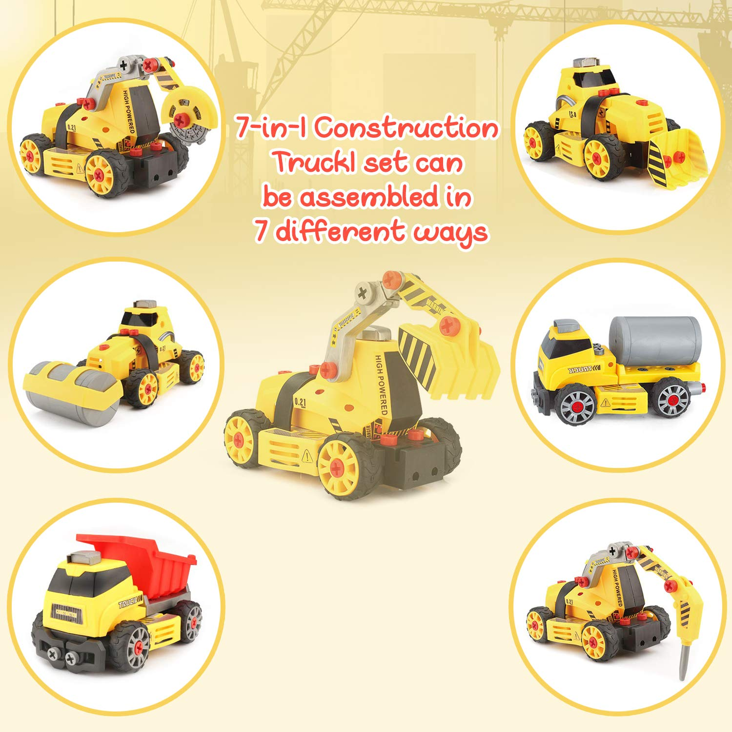 7 In 1 DIY Construction Trucks