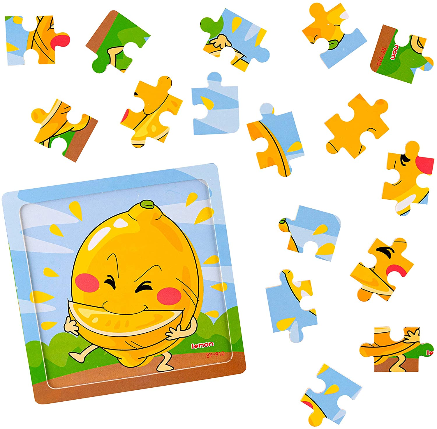 Wooden Jigsaw Fruit Puzzles Party Favors Toys 12 pack