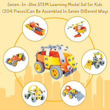 Load image into Gallery viewer, 7 In 1 - 204 Piece Stem Cars