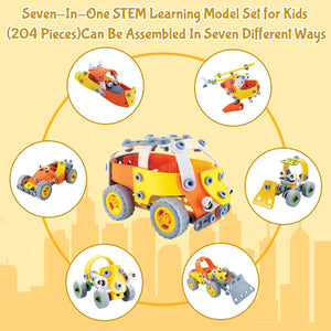 7 In 1 - 204 Piece Stem Cars