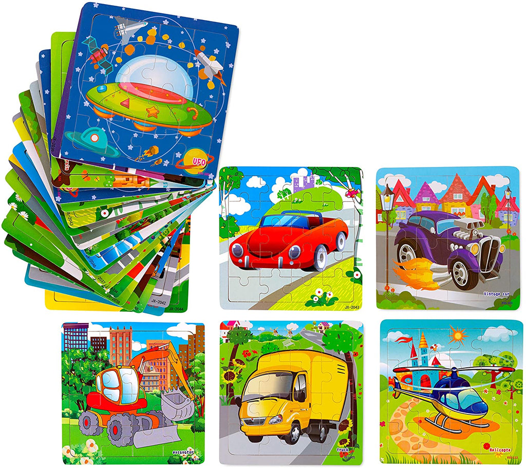 Wooden Jigsaw Vehicle Puzzles Party Favors Toys 20 pack