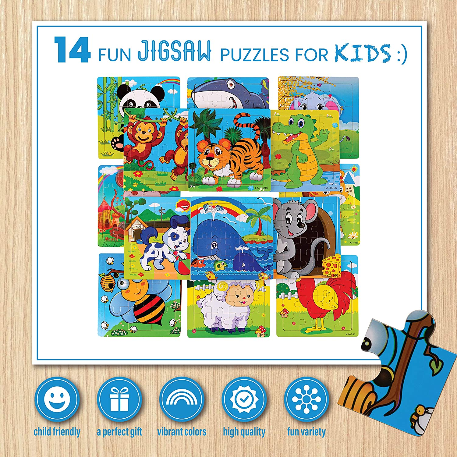 Jigsaw Animal  Puzzles Party Favors Toys 14 pack