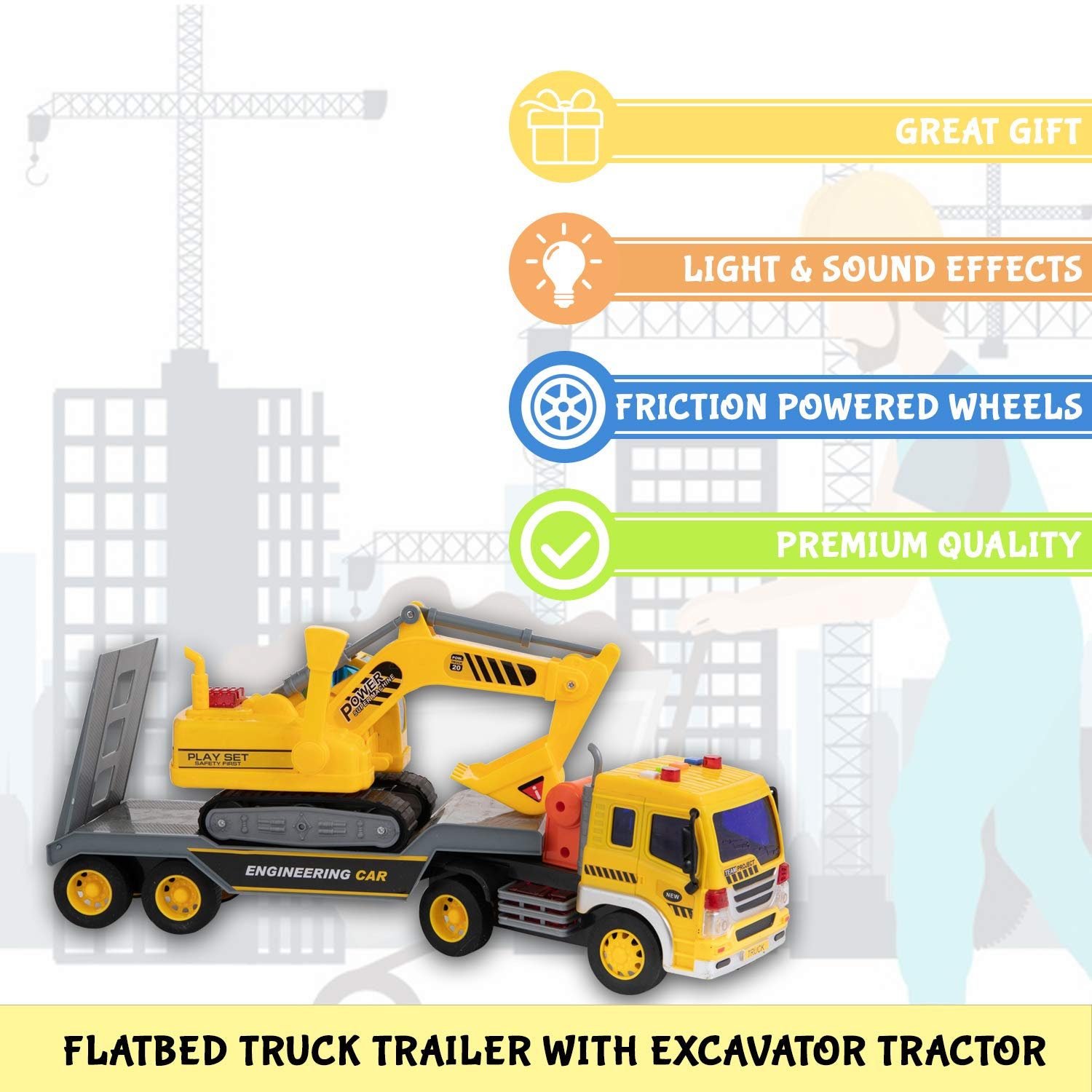 Friction Construction Truck With Excavator