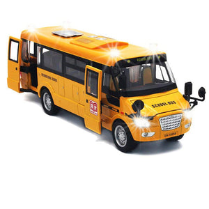 Toy To Enjoy Pull Back School Bus with Lights Sounds and Openable Doors