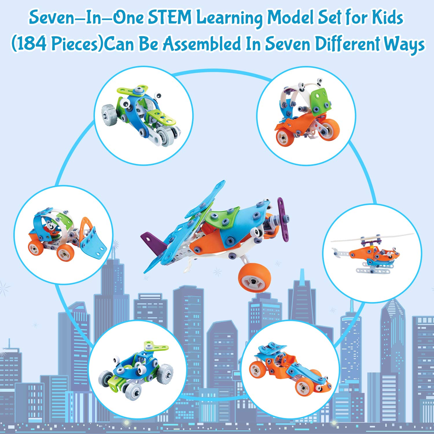 7 In 1 - 184 Piece Stem Cars