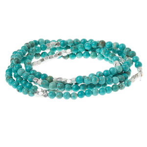 Turquoise/silver - Stone of the Sky - Stone Wrap Bracelet/Necklace