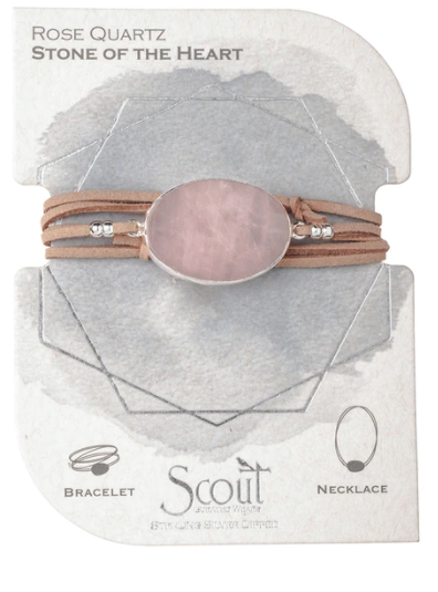 Suede Stone Wrap - Rose Quartz / Silver /Stone of the Heart  - Bracelet/Necklace