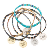 Load image into Gallery viewer, Good Karma Miyuki Charm Bracelet | Fearless - Tortoise/Sparkle/Gold
