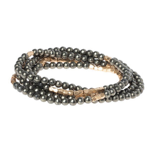 Pyrite - Stone of Positive Energy - Stone Wrap Bracelet/Necklace