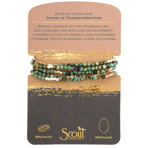 African Turquoise - Stone of Transformation - Stone Wrap Bracelet/Necklace