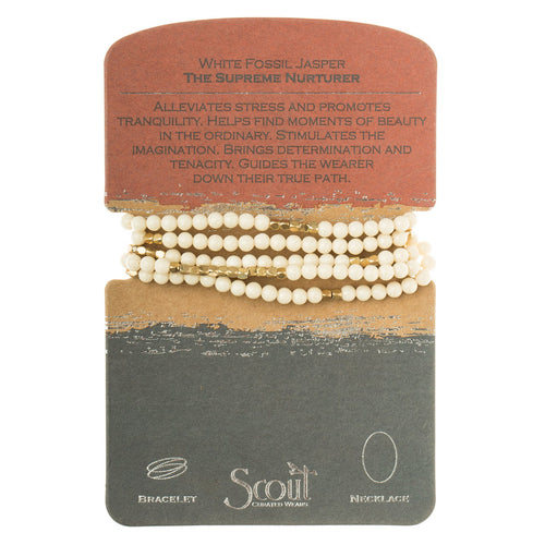White Fossil Jasper - The Supreme Nurturer - Stone Wrap Bracelet/Necklace