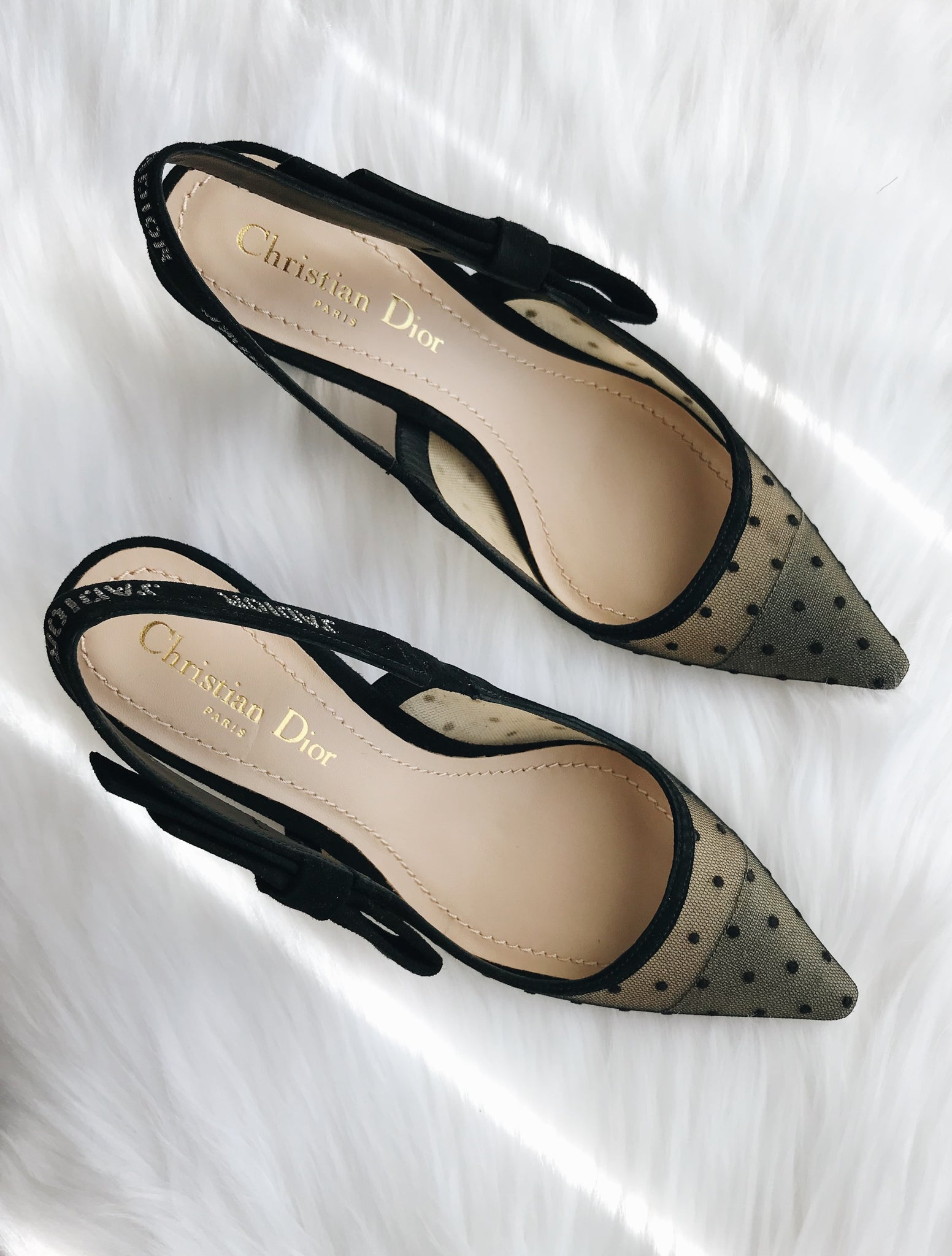 e589e7922cb ... Pre-owned Dior Jadior Sling-back in nude and black dotted swiss    rhinestones ...
