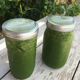 Green Smoothie On The Go with a Wide Mouth Cuppow Mason Jar Drinking Lid