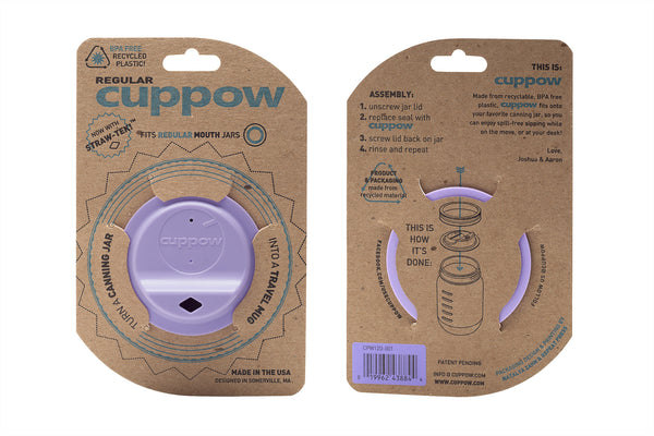 Cuppow drinking lid regular mouth lavender sipping lid