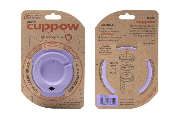 Cuppow drinking lid wide mouth lavender sipping lid