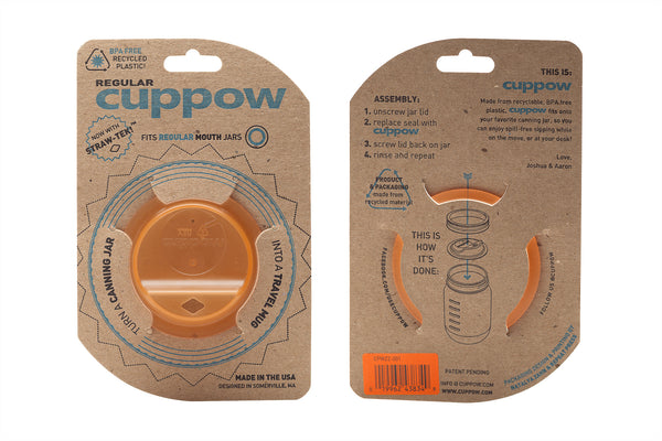Cuppow drinking lid regular mouth orange sipping lid