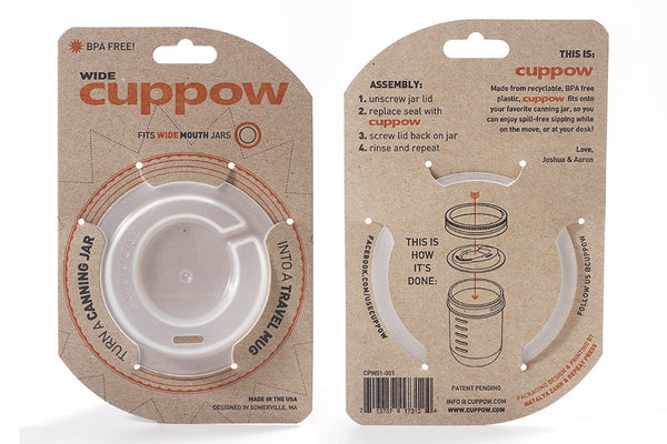 Cuppow Canning Jar Drinking Lid - Wide Mouth - Original - Clear