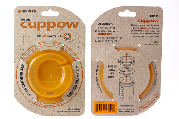 Cuppow Canning Jar Drinking Lid - Wide Mouth - Original - Orange