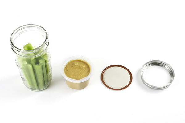 cuppow bnto mason jar lunchbox adaptor wide mouth 6 oz celery and peanut butter