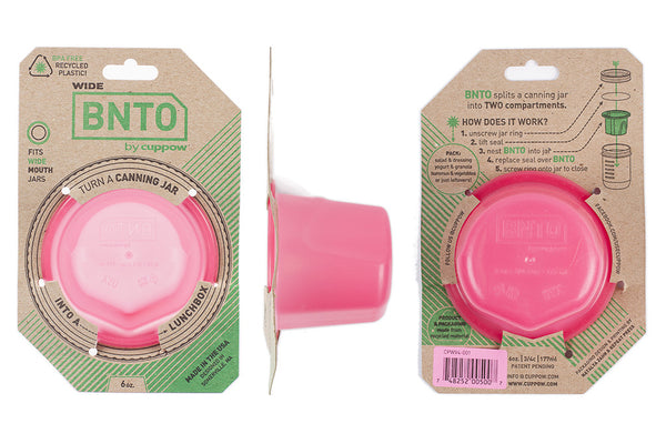 cuppow bnto mason jar lunchbox adaptor wide mouth 6 oz pink
